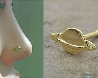 Saturn Planet Gold Nose Stud Gold Nose Ring