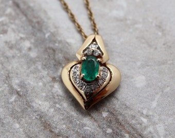 14K Vintage Emerald & Diamond pendant necklace, 14 kt yellow gold, may birthstone, bridal jewelry, 14k gold estate jewelry, 20th anniversary