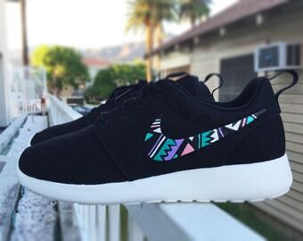 Nike Roshe Custom design, Tribal and Aztec inspired design, Teal blue, pink,
