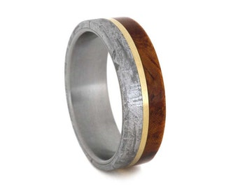 Meteorite Wedding Band With Amboyna Burl, Titanium Ring With A 14k Yellow Gold Pinstripe, Wooden Commitment Ring
