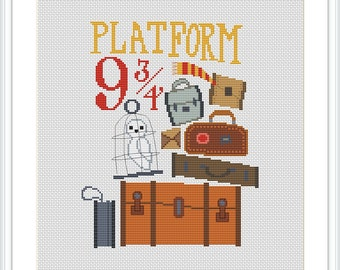 Platform 9 3/4 Cross stitch pattern Harry Potter cross stitch PDF Instant Download Counted cross stitch chart Hogwarts Express X226