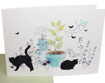 "romantic greeting card double ""Cats and birds in the garden"" watercolor illustration made in Provence in France."