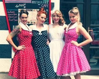 Pink Polka Dot Rockabilly Dress Pin Up 50 S Style