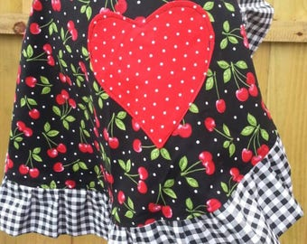 Women's Reversible Half Apron - Rockablilly Cherries and Gingham