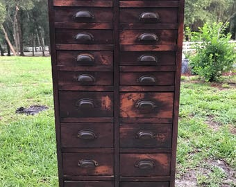 Antique 20 drawer cabinet,Primitive cabinet, Pine Wood Apothecary Chest, Vintage Hardware storage Early 1900s,Solid Brass Pulls,