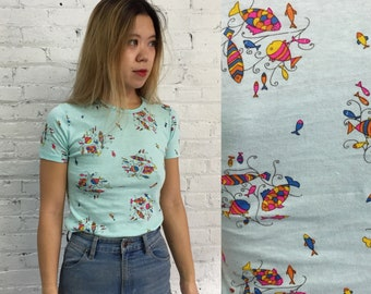 vintage 60's colorful fish print t shirt / French knit short sleeve shirt / fish pattern crewneck tee / pisces gift