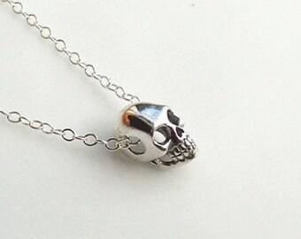 ON SALE Skull Necklace, Sterling Silver Charm, Sterling Charm Necklace, Sterling Skull, Skull Jewelry, El Dia del Muerte, Tiny Skull Necklac