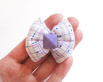 Soft Lilac Puffy White Bow Hair Clip