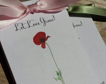 Vintage Red Poppy Flower Design Wedding Favors w/ Wildflowers Seed Packets Personalized Bridal Shower Favors Engagement Party ~  Reception
