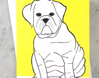 Bulldog Greeting Card, Illustrated Dog note card with a blank interior, Yellow and White