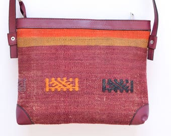 Boho Bag -033  Vintage Kilim Rug Carpet Leather Cross Body Bag Bohemian Boho Bag Hippie Ethnic Tribal Aztec Authentic bag Southwestern bag