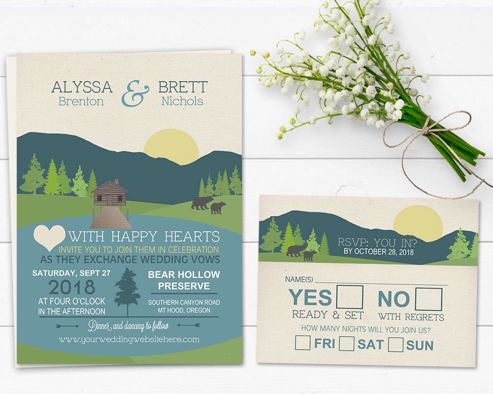 Mountain Wedding Invitation Rustic Mountain Wedding Lake