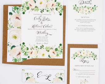 Greenery Wedding Invitations - Rustic - Wedding Invitations - Greenery Collection Sample Set
