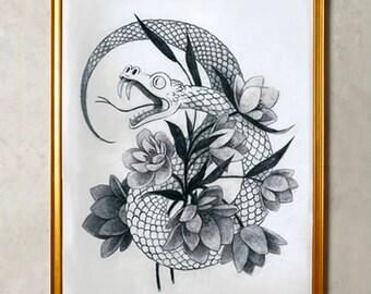 Original Illustration of a Snake Tangled in Hellebore Flowers