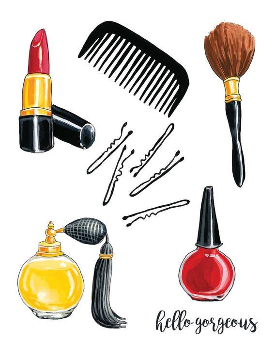 Girly Necessities,  Bathroom Decor,  Makeup Art Print, Vintage Beauty, Classic Beauty, Makeup Artist, Cute Gift Decor 8x10 Art Print