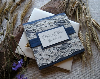 Rustic Wedding Invitation, Lace Wedding Invitation, Navy Wedding Invitation, Cream Wedding Invitation SAMPLE