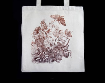 drawing original etching, aquatint, plants, insects, butterflies, unbleached cotton bag, tote bag