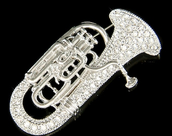 Swarovski Crystal Tuba Euphonium Eupho Euph Baritone Horn Music Musical Brooch Jewelry Musican Christmas Best Friend Mother's Day Gift New