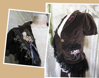 Brown Velvet Jacket, shabby gypsy jacket, extra small junior size, cute jacket lace beads buttons embellished