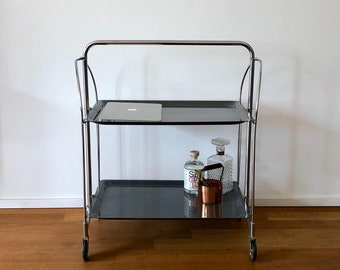 Very rare Dinett/trolley/trolley with black mottled tablets and chrome frame
