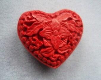 Carved Cinnabar Heart