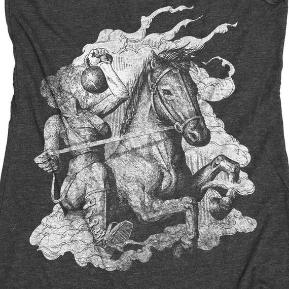 Halloween Gym Shirt - Kettlebell Tank -Headless Horseman With a Kettle Bell Hand Screen Printed Womens Tank Top -Halloween Shirt!