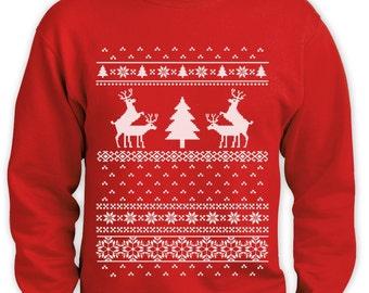 Ugly Christmas Sweater Funny Men Sweatshirt Deer