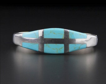Vintage Mexican Sterling Silver Turquoise Bracelet, Sterling Silver, Turquoise Inlay, Mexican Jewellery, Mexican Silver, Hinged Bracelet