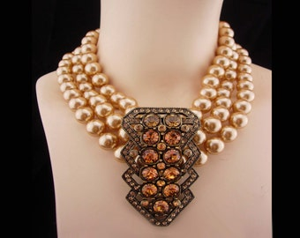 Statement necklace huge centerpiece Dramatic pave rhinestones LARGE pearls Vintage choker Heidi Daus