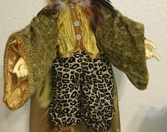"24""  Dressed elegant  Lion  poseable doll"