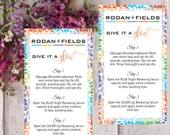 PRINTABLE Rodan and Fields Mini Facial Cards, Business Cards Size, Rodan And Fields Mini Facial Card Give it a Glow, Instant Download RF007