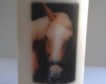 Personalised pillar candle with your horses, cats or dogs photo, hand decorated in the UK