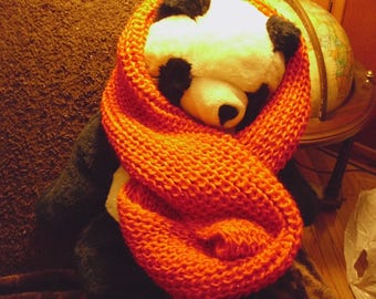 Bright Red Ribbed Knit Infinity Cowl Wool Scarf with Lustrous Metallic Thread