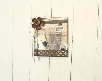 Wall Photo Holder - Message Board - Repurposed Wood - Recycled Salvage - Rusty Flower - Metal Trim