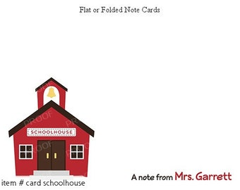 School Schoolhouse Personalized Note cards Stationery Set of 10 flat or folded notecards