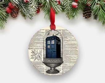 TARDIS Christmas Ornament, Terrarium Print, Doctor Who Dictionary Art Print, Round Aluminum Circle Ornament, Dr Who Gifts Stocking Stuffers