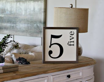 Family Number Sign - Gallery Wall Family Sign - Personalized Family Sign - Rustic Family Sign - Gallery Sign - Framed Farmhouse Sign - Wood