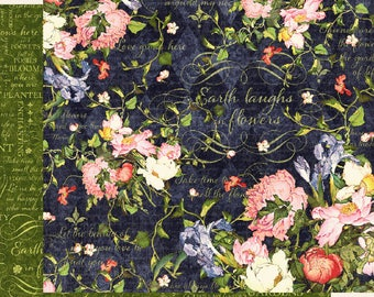 Graphic 45 Floral Shoppe-Midnight Medley-Double-sided sheet 12x12 cover-weight-acid and lignin free