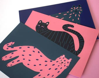 Set of 3 cats postcards