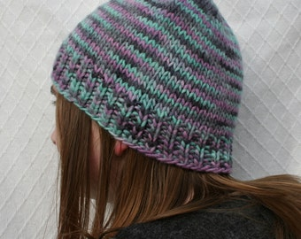 Snow Day hand knit beanie hat.  Hand dyed wool, alpaca blend.
