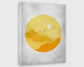 Midcentury Modern Canvas Print, Abstract Landscape, Retro Wall Art, Minimalist Poster, Yellow and Gray