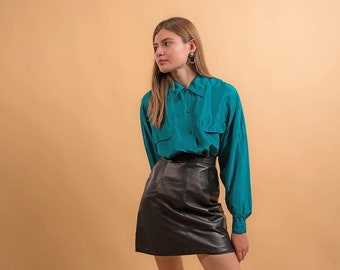 Oversized Silk Blouse / Vintage 90s Shirt / Utilitarian Shirt / Chest Pocket Blouse Δ size: XS/S/M