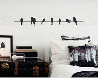 Wall Decals Birds On A Wire Vinyl Decal - Home Decor - Lovebirds - Sparrows - Modern Wall Art - SALE - Clearance - 36""