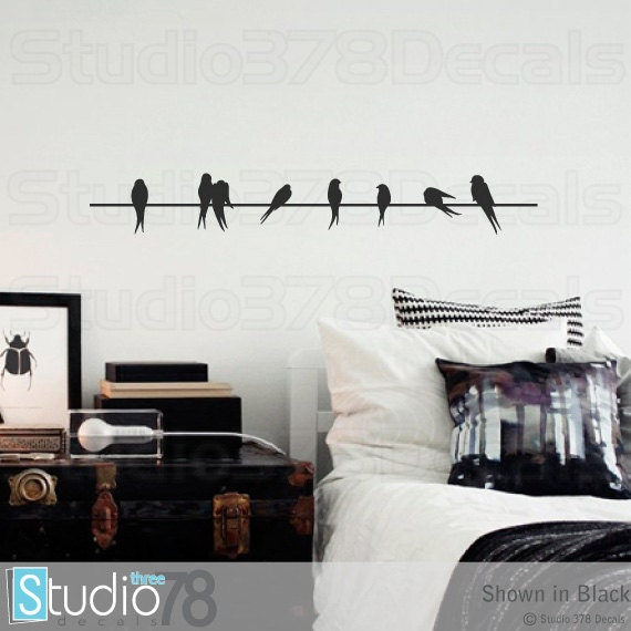 Wall decals birds on a wire vinyl decal home decor zoom thecheapjerseys Image collections