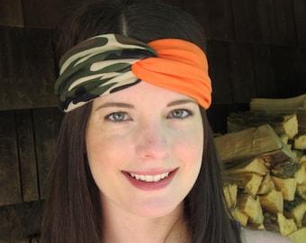Camouflage Twist Headband, Green Black and Brown Beige Camouflage and Orange Headband, Crossfit Headband,  Hunting Headband, Camo Headband