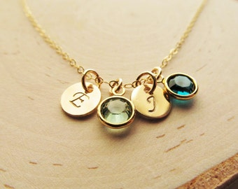Mothers Birthstone Necklace, 14kt Gold Filled with Initial Charm, Personalized Mothers Jewelry, Birthstone Necklace for Mom, Gift for Mom