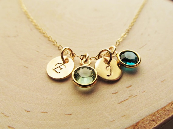 Gift For Goddaughter Birthstone Necklace Sterling By: Mothers Birthstone Necklace 14kt Gold Filled With Initial
