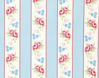 Shabby Chic Blue Gingham striped Cotton Fabric