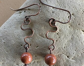 Women's Earrings - Goldstone - drop dangle - Handmade - beaded - copper Jewelry