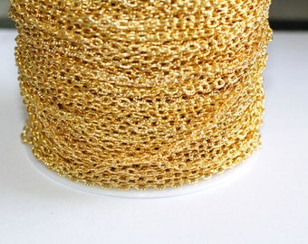 32ft Gold 4x3mm Cable Chain Bracelet-Necklace Chain